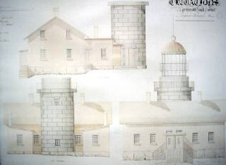 These original architectural elevations are for the current Seguin Island Light Station.