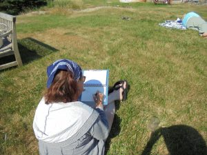 Our friend Terri sketching the lighthouse