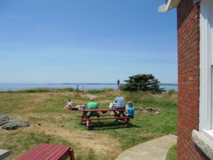 Visitors relaxing around the picnic table.